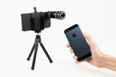 Trípode y lente para iPhone 5. Photojojo.